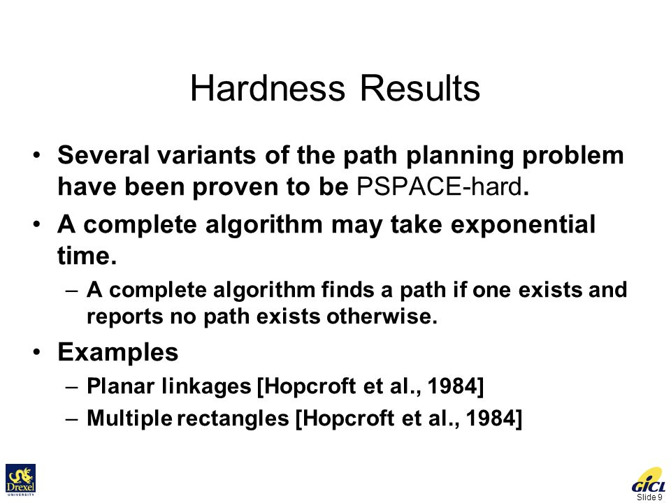 Slide 20 Computational Efficiency Simple algorithm O(n 3 ) time More efficient algorithms –Rotational sweep O(n 2 log n) time –Optimal algorithm O(n 2 ) time –Output sensitive algorithms O(n 2 ) space