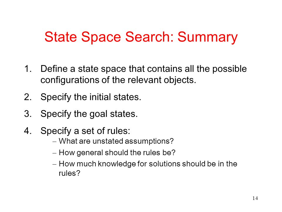 14 State Space Search: Summary 1.Define a state space that contains all the possible configurations of the relevant objects.