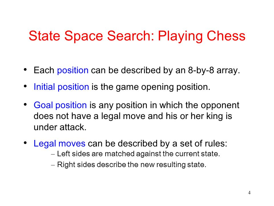 4 State Space Search: Playing Chess Each position can be described by an 8-by-8 array.