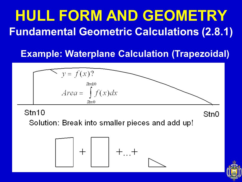 HULL FORM AND GEOMETRY Fundamental Geometric Calculations (2.8.1) Example: Waterplane Calculation (Trapezoidal)
