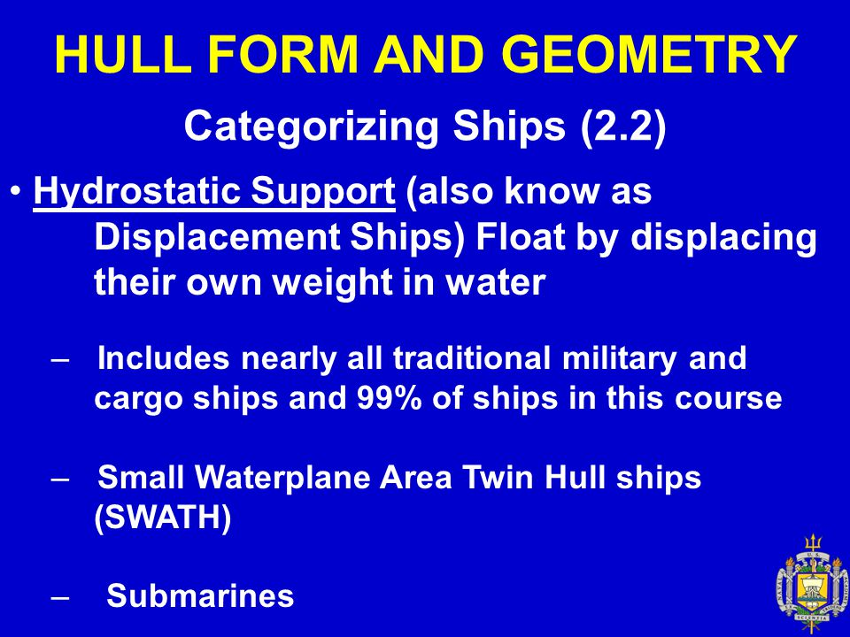 HULL FORM AND GEOMETRY Categorizing Ships (2.2) Hydrostatic Support (also know as Displacement Ships) Float by displacing their own weight in water –