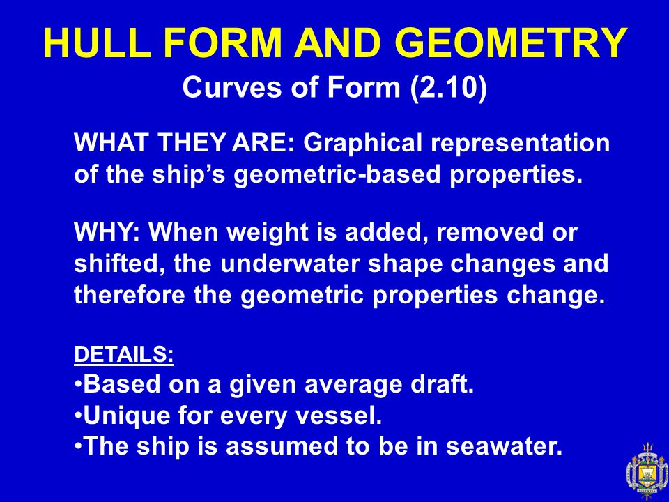 Curves of Form (2.10) HULL FORM AND GEOMETRY WHAT THEY ARE: Graphical representation of the ship's geometric-based properties. WHY: When weight is add