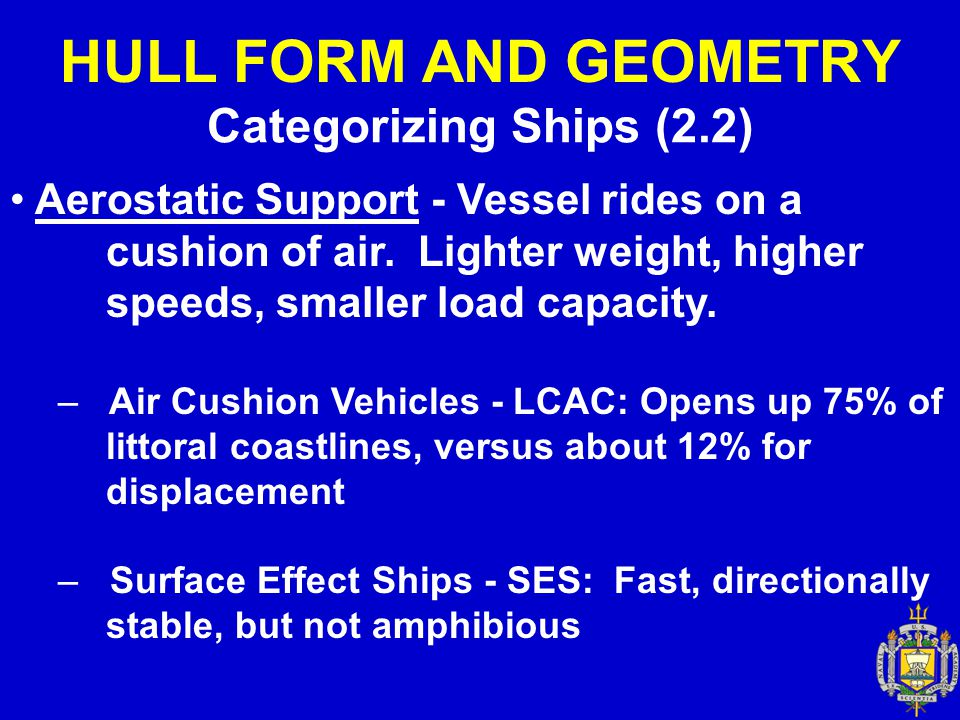 HULL FORM AND GEOMETRY Categorizing Ships (2.2) Aerostatic Support - Vessel rides on a cushion of air. Lighter weight, higher speeds, smaller load cap