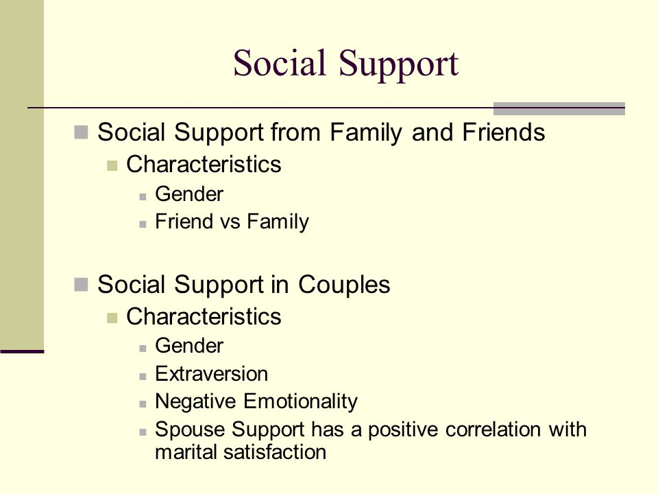 Social Support Social Support from Family and Friends Characteristics Gender Friend vs Family Social Support in Couples Characteristics Gender Extrave