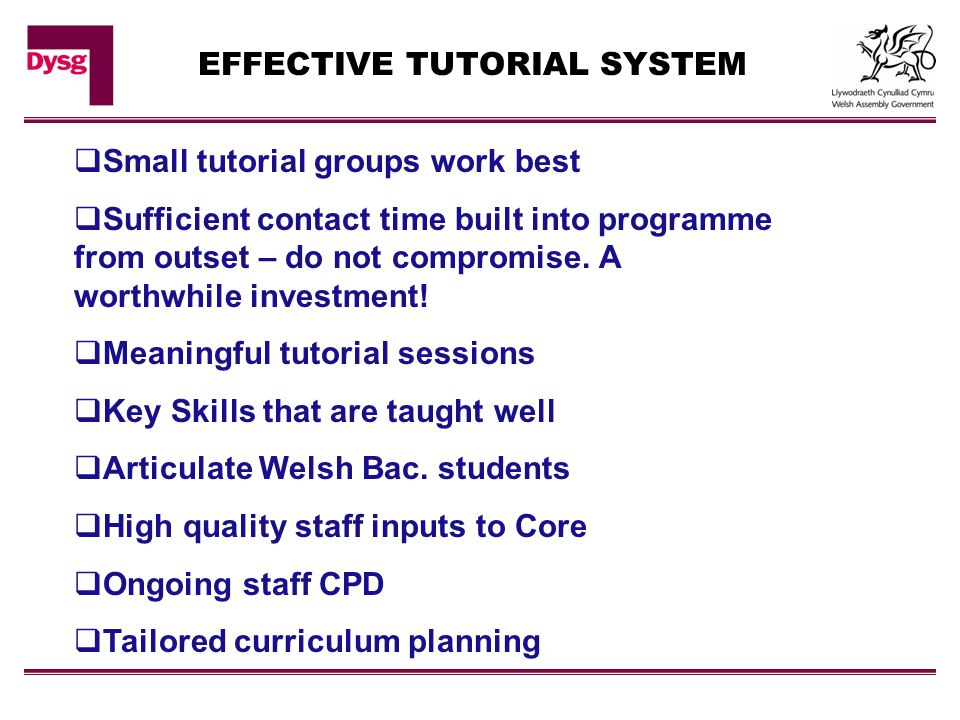 EFFECTIVE TUTORIAL SYSTEM  Small tutorial groups work best  Sufficient contact time built into programme from outset – do not compromise. A worthwhi