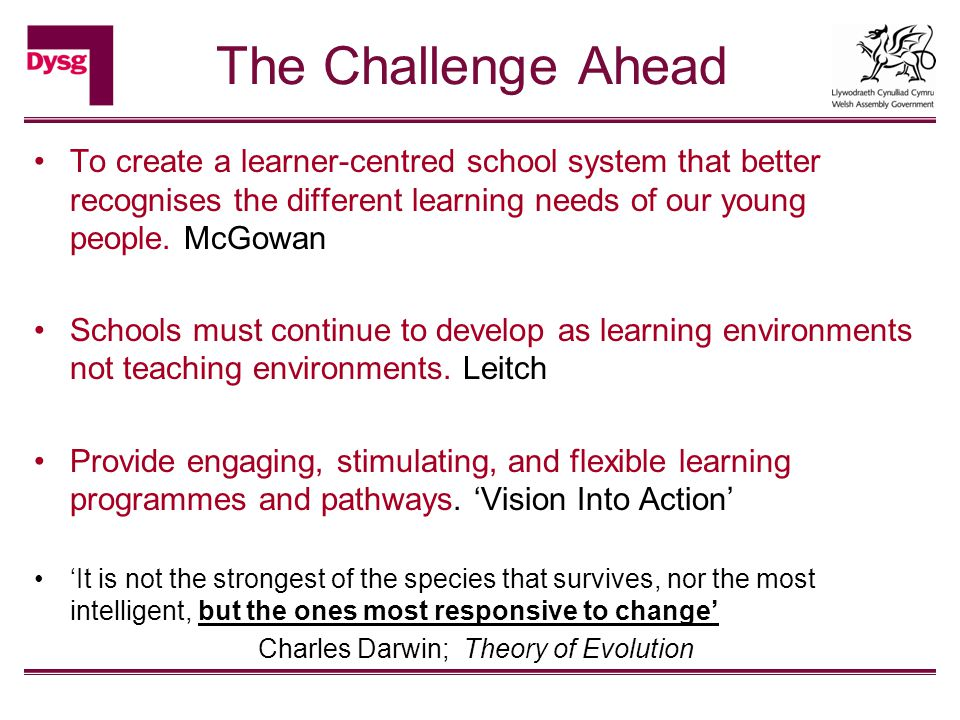 The Challenge Ahead To create a learner-centred school system that better recognises the different learning needs of our young people.