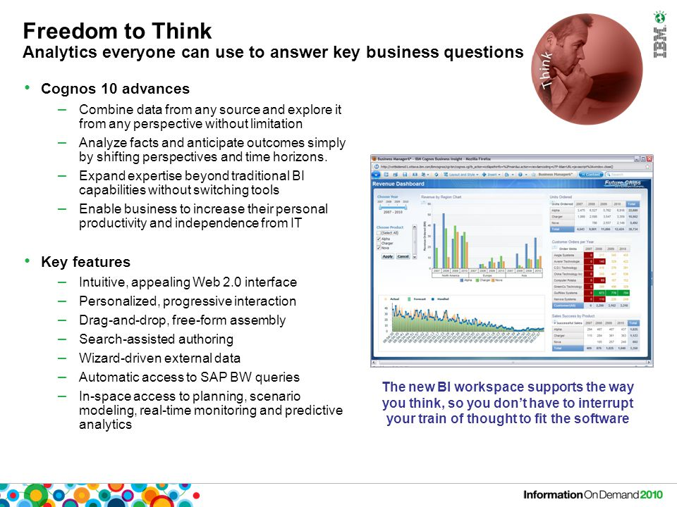 Freedom to Think Analytics everyone can use to answer key business questions Cognos 10 advances – Combine data from any source and explore it from any perspective without limitation – Analyze facts and anticipate outcomes simply by shifting perspectives and time horizons.