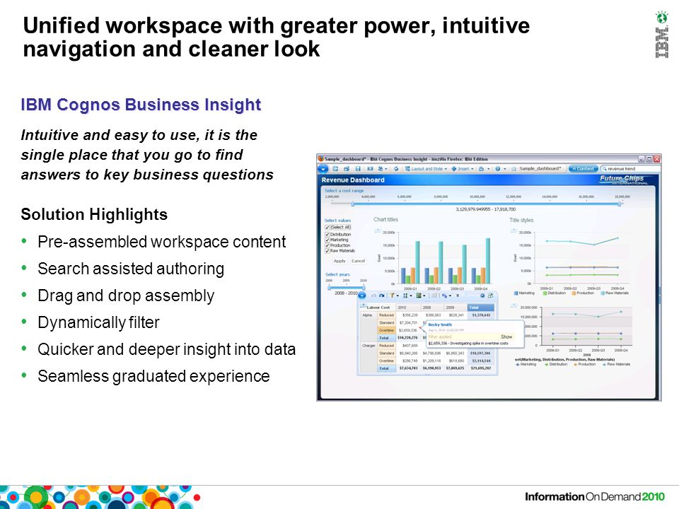 Unified workspace with greater power, intuitive navigation and cleaner look Solution Highlights Pre-assembled workspace content Search assisted authoring Drag and drop assembly Dynamically filter Quicker and deeper insight into data Seamless graduated experience Intuitive and easy to use, it is the single place that you go to find answers to key business questions IBM Cognos Business Insight