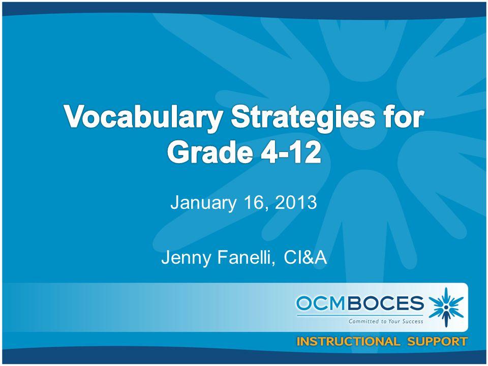 January 16, 2013 Jenny Fanelli, CI&A