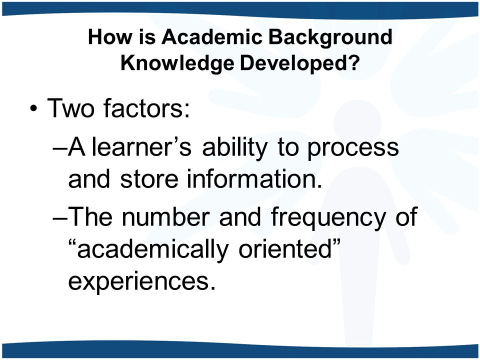 How is Academic Background Knowledge Developed.