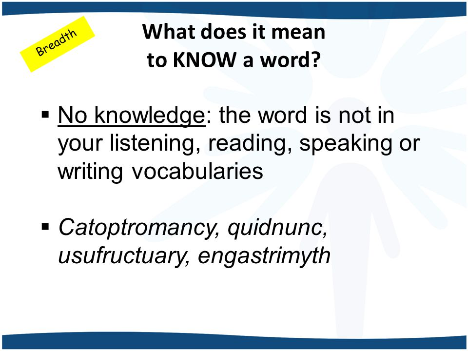What does it mean to KNOW a word.