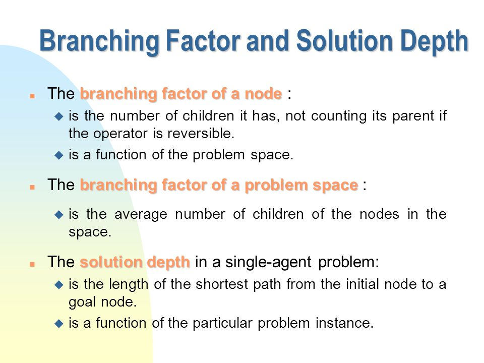 branching factor of a node n The branching factor of a node : u is the number of children it has, not counting its parent if the operator is reversibl