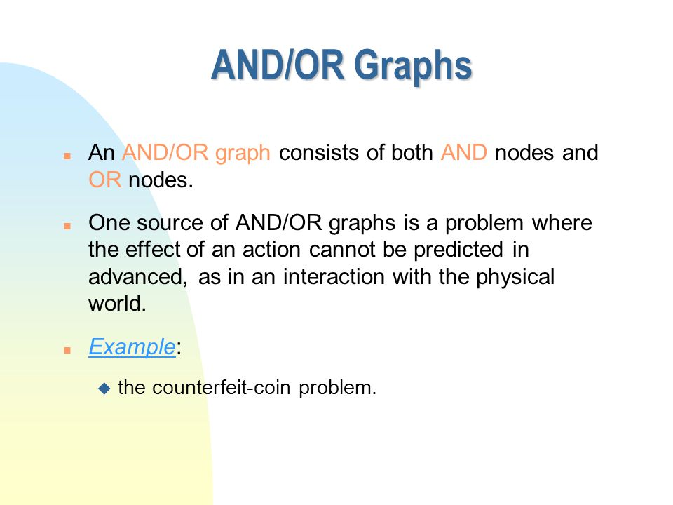 n An AND/OR graph consists of both AND nodes and OR nodes.