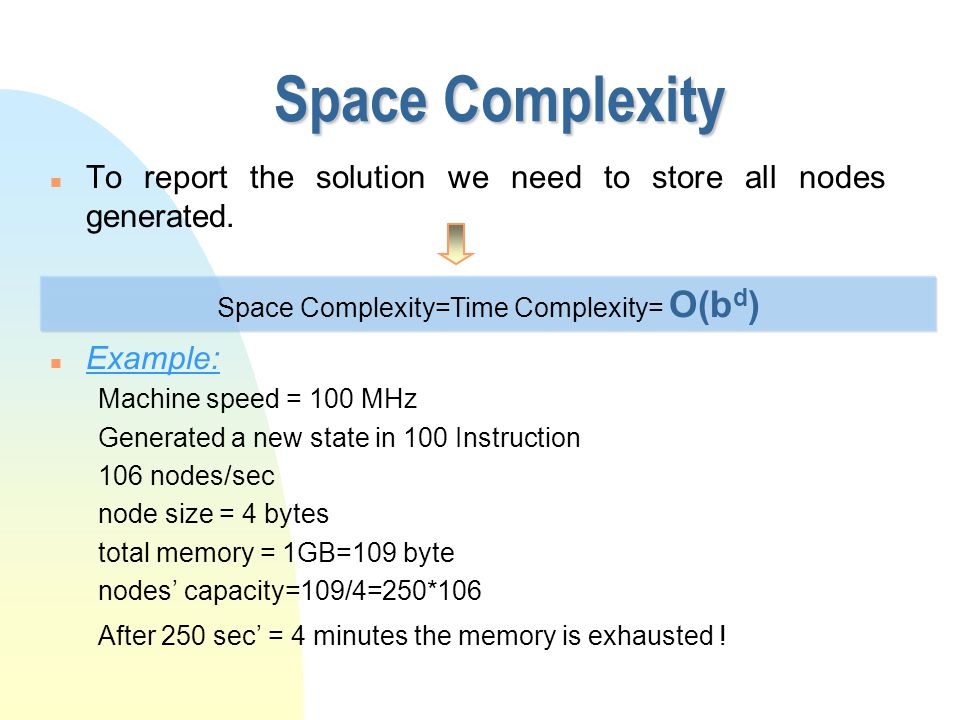Space Complexity n To report the solution we need to store all nodes generated. n Example: Machine speed = 100 MHz Generated a new state in 100 Instru
