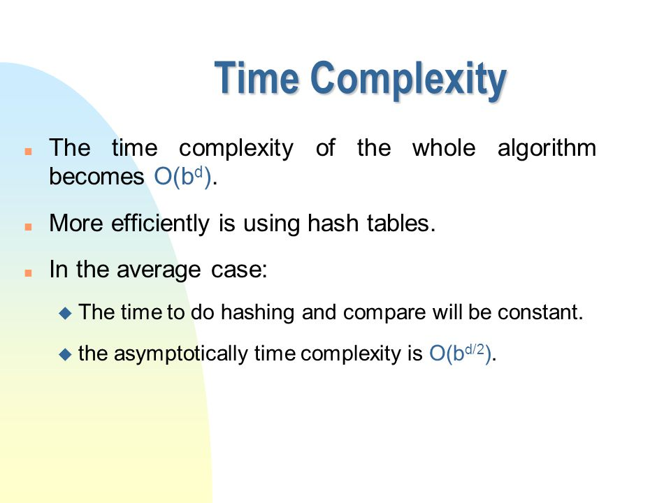 Time Complexity n The time complexity of the whole algorithm becomes O(b d ). n More efficiently is using hash tables. n In the average case: u The ti