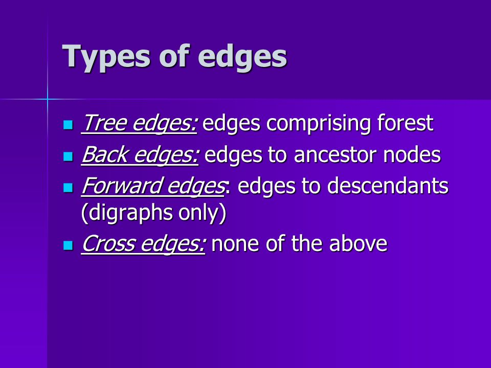Types of edges Tree edges: edges comprising forest Tree edges: edges comprising forest Back edges: edges to ancestor nodes Back edges: edges to ancestor nodes Forward edges: edges to descendants (digraphs only) Forward edges: edges to descendants (digraphs only) Cross edges: none of the above Cross edges: none of the above
