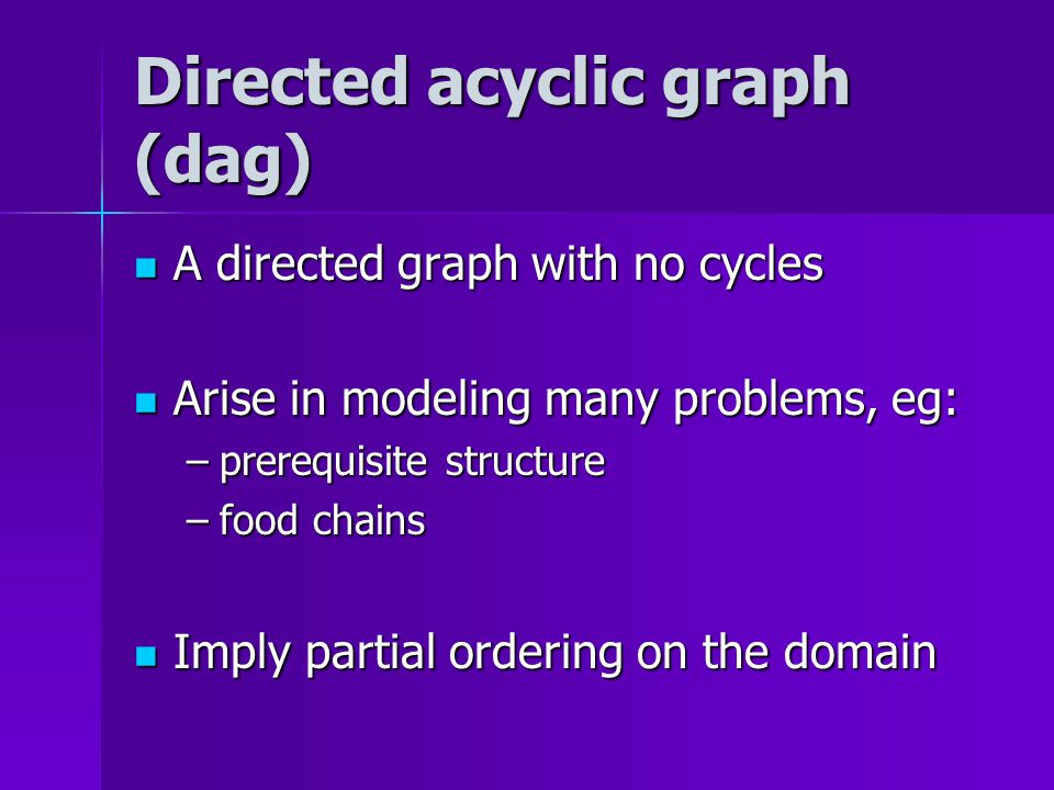 Directed acyclic graph (dag) A directed graph with no cycles A directed graph with no cycles Arise in modeling many problems, eg: Arise in modeling many problems, eg: –prerequisite structure –food chains Imply partial ordering on the domain Imply partial ordering on the domain