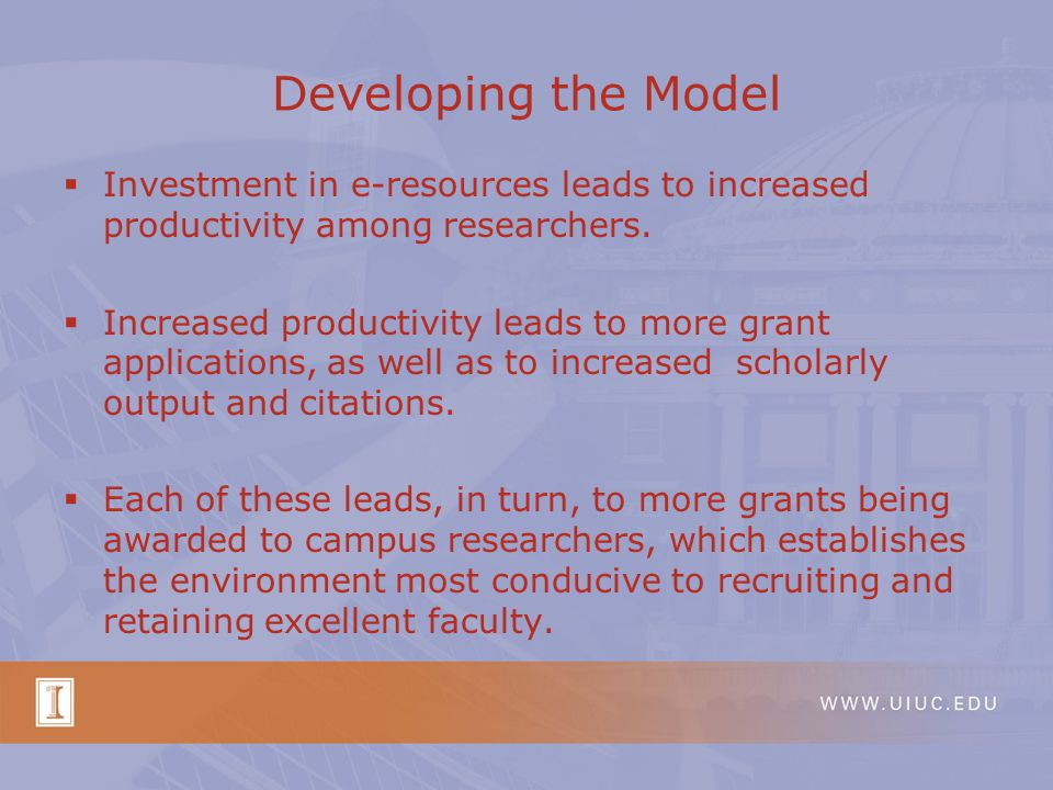 Developing the Model  Investment in e-resources leads to increased productivity among researchers.  Increased productivity leads to more grant appli