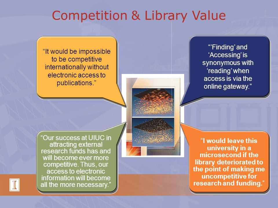 Competition & Library Value It would be impossible to be competitive internationally without electronic access to publications. 'Finding' and 'Accessing' is synonymous with 'reading' when access is via the online gateway. Our success at UIUC in attracting external research funds has and will become ever more competitive.