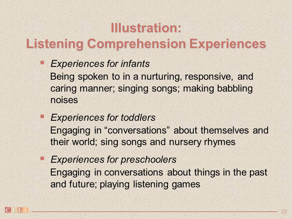 23 Illustration: Listening Comprehension Experiences  Experiences for infants Being spoken to in a nurturing, responsive, and caring manner; singing