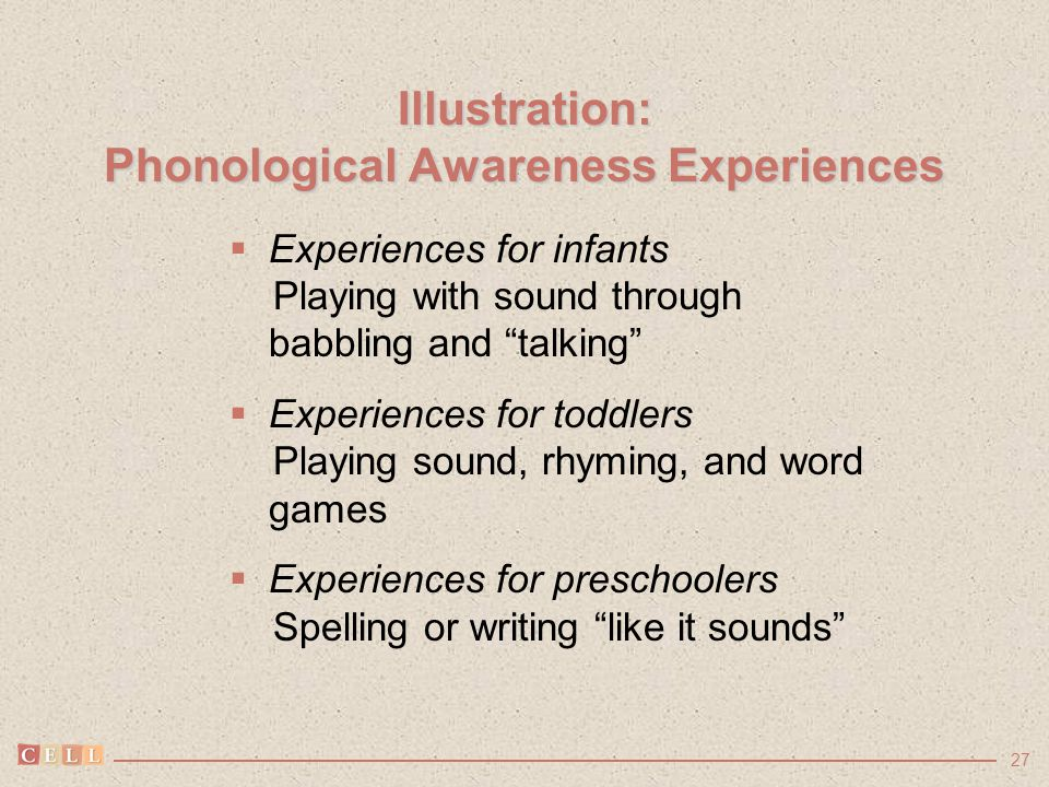 "27 Illustration: Phonological Awareness Experiences  Experiences for infants Playing with sound through babbling and ""talking""  Experiences for todd"