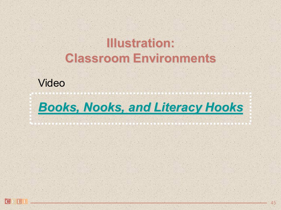 45 Illustration: Classroom Environments Books, Nooks, and Literacy Hooks Books, Nooks, and Literacy Hooks Video