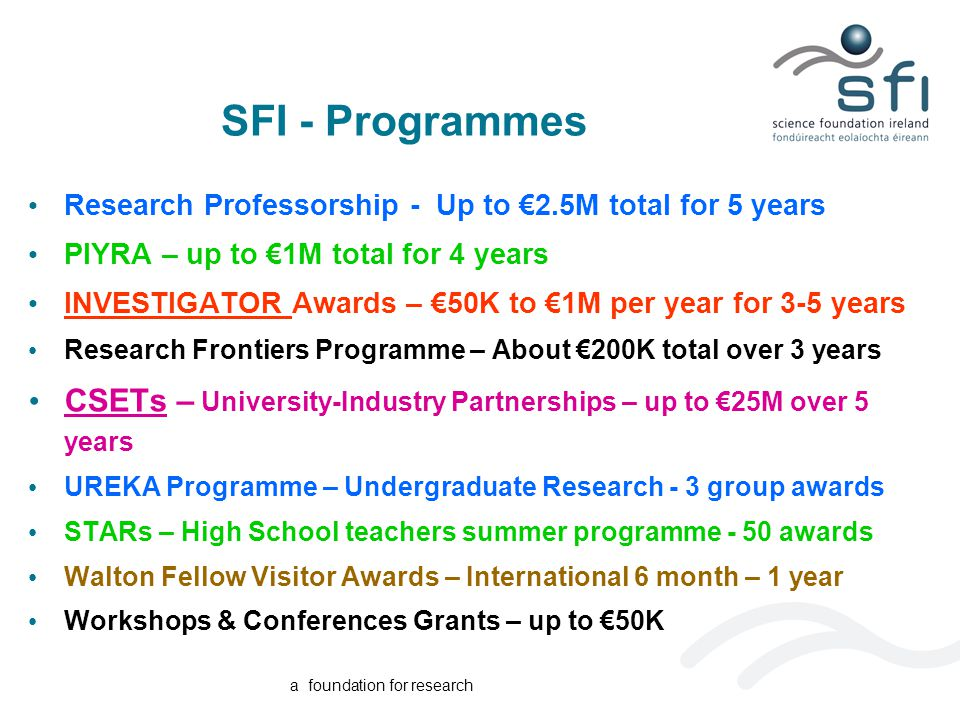 a foundation for research SFI - Programmes Research Professorship - Up to €2.5M total for 5 years PIYRA – up to €1M total for 4 years INVESTIGATOR Awards – €50K to €1M per year for 3-5 years Research Frontiers Programme – About €200K total over 3 years CSETs – University-Industry Partnerships – up to €25M over 5 years UREKA Programme – Undergraduate Research - 3 group awards STARs – High School teachers summer programme - 50 awards Walton Fellow Visitor Awards – International 6 month – 1 year Workshops & Conferences Grants – up to €50K