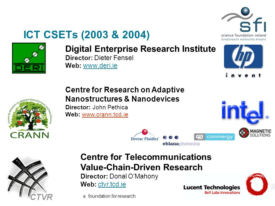 a foundation for research ICT CSETs (2003 & 2004) Digital Enterprise Research Institute Director: Dieter Fensel Web: www.deri.ie Centre for Research on Adaptive Nanostructures & Nanodevices Director: John Pethica Web: www.crann.tcd.iewww.crann.tcd.ie Centre for Telecommunications Value-Chain-Driven Research Director: Donal O'Mahony Web: ctvr.tcd.ie CTVR