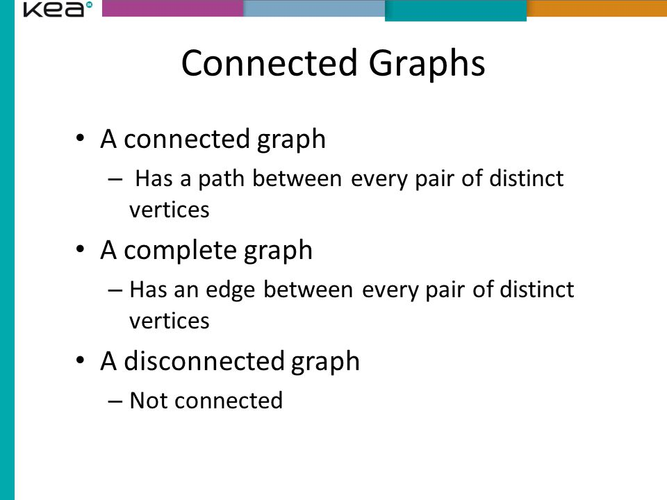 Connected Graphs A connected graph – Has a path between every pair of distinct vertices A complete graph – Has an edge between every pair of distinct vertices A disconnected graph – Not connected