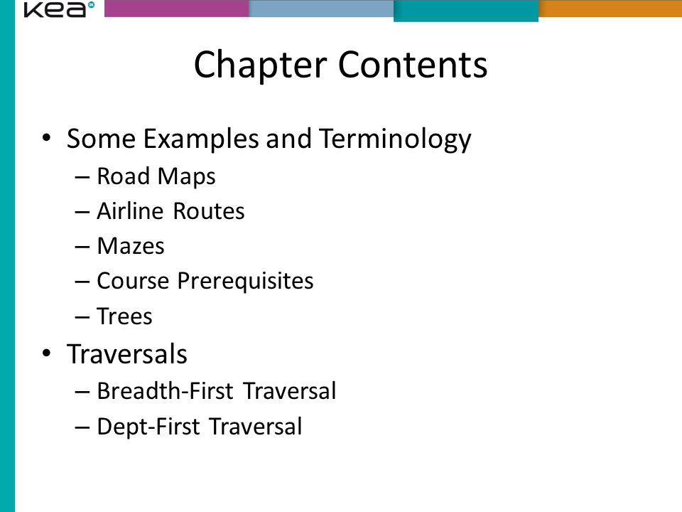 Chapter Contents Some Examples and Terminology – Road Maps – Airline Routes – Mazes – Course Prerequisites – Trees Traversals – Breadth-First Traversal – Dept-First Traversal