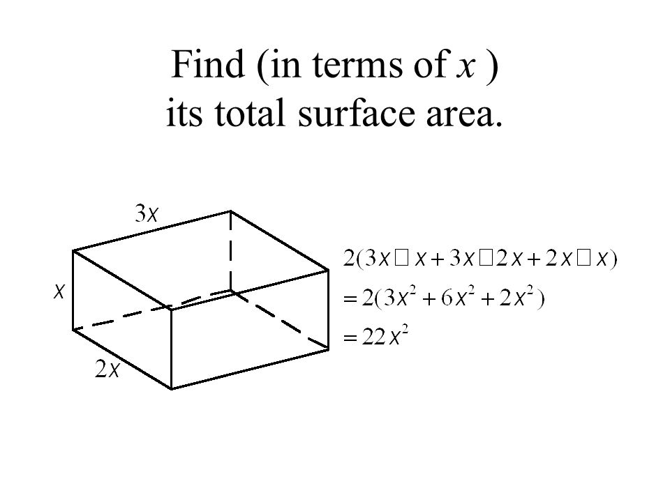 Find (in terms of x ) its total surface area.