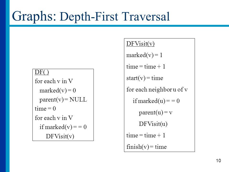 10 Graphs: Depth-First Traversal DF( ) for each v in V marked(v) = 0 parent(v) = NULL time = 0 for each v in V if marked(v) = = 0 DFVisit(v) marked(v)