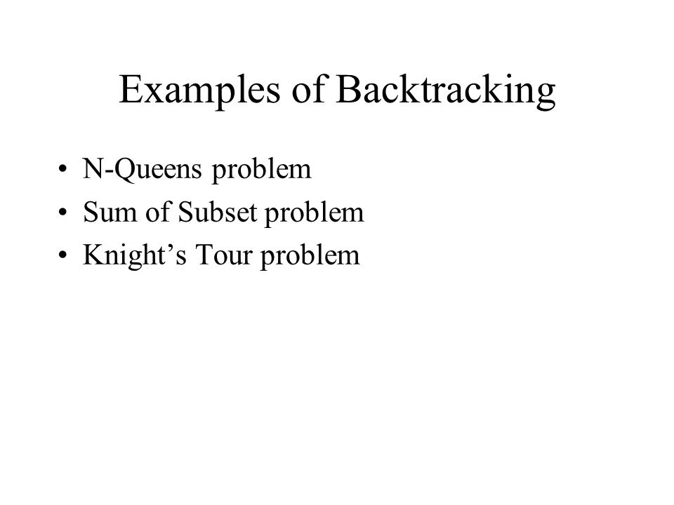 Examples of Backtracking N-Queens problem Sum of Subset problem Knight's Tour problem