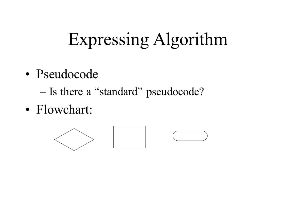 Expressing Algorithm Pseudocode –Is there a standard pseudocode? Flowchart: