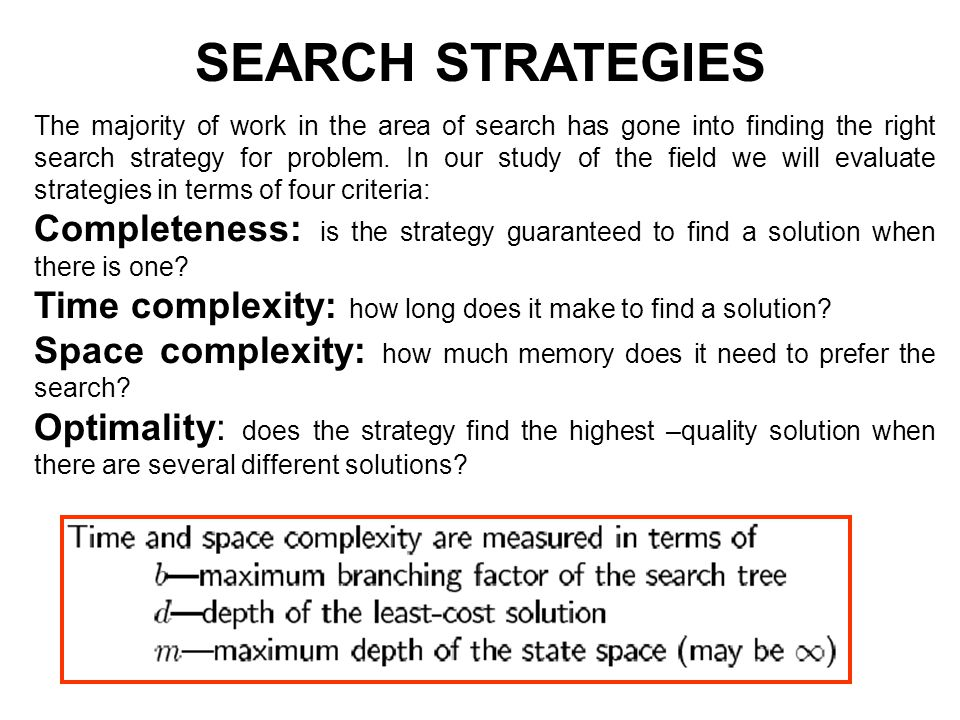 The majority of work in the area of search has gone into finding the right search strategy for problem.