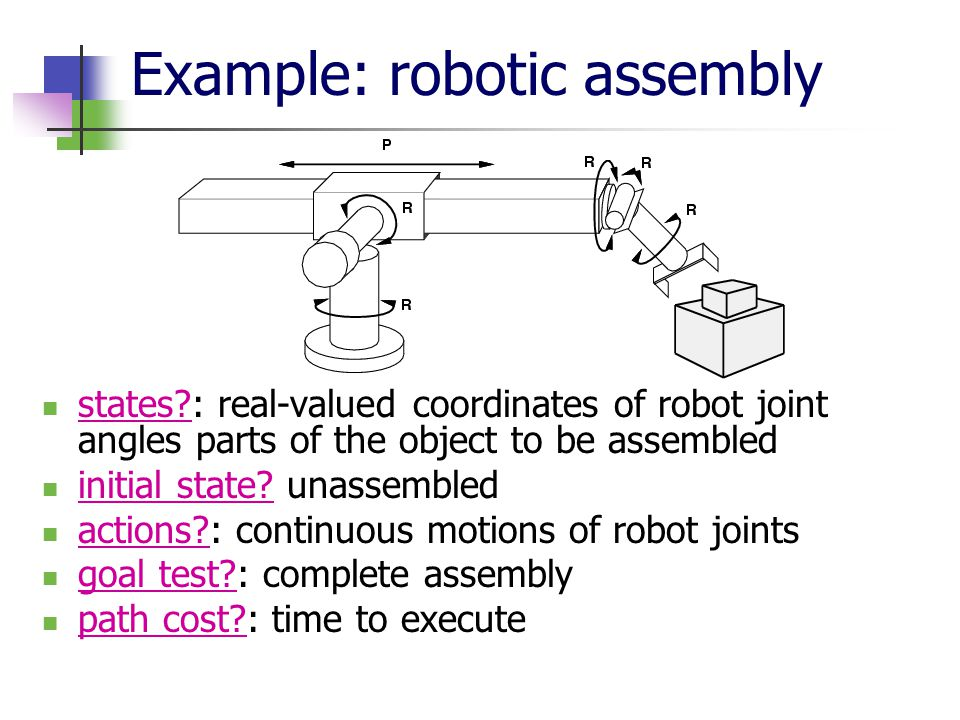 Example: robotic assembly states?: real-valued coordinates of robot joint angles parts of the object to be assembled initial state.