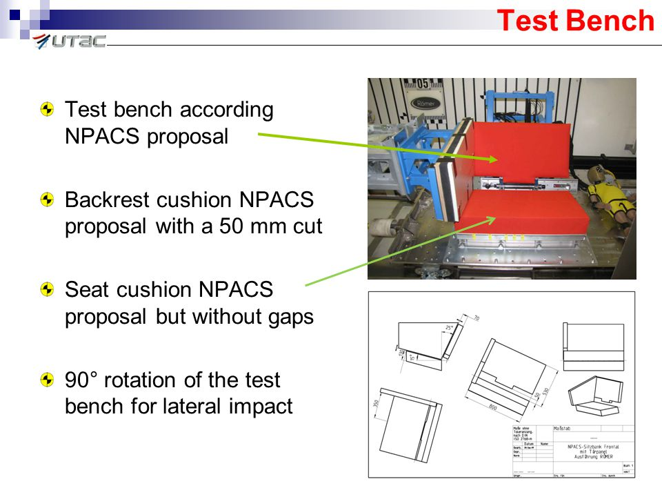 Test Bench Test bench according NPACS proposal Backrest cushion NPACS proposal with a 50 mm cut Seat cushion NPACS proposal but without gaps 90° rotat