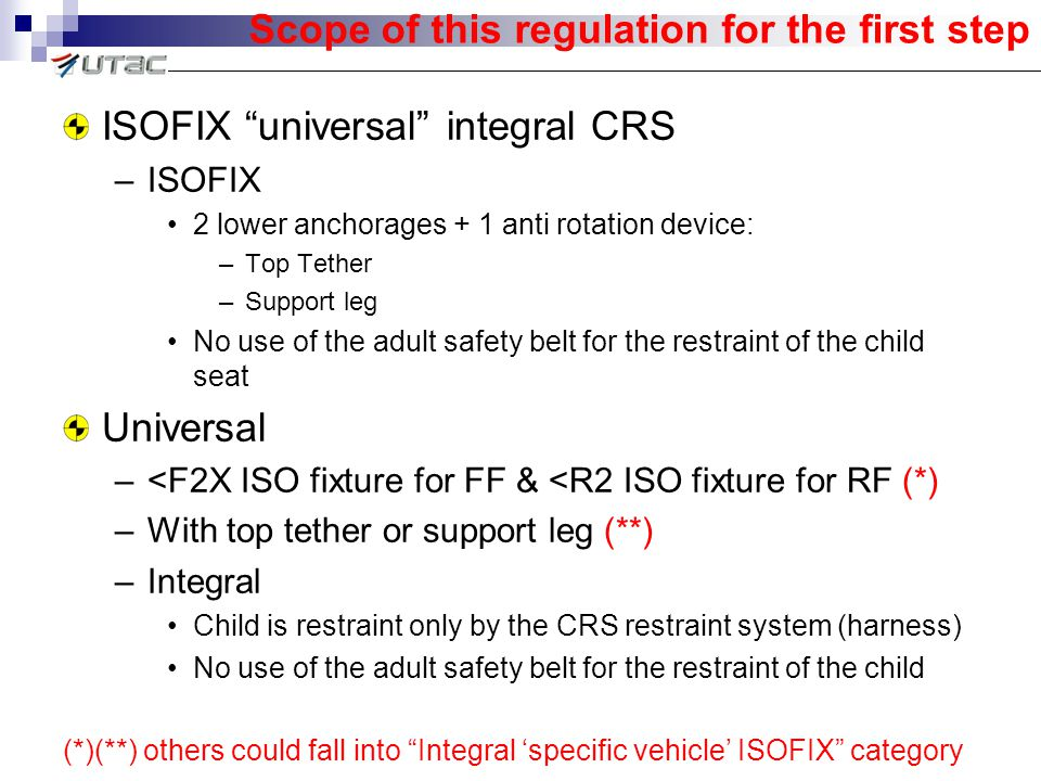 Scope of this regulation for the first step ISOFIX universal integral CRS –ISOFIX 2 lower anchorages + 1 anti rotation device: –Top Tether –Support leg No use of the adult safety belt for the restraint of the child seat Universal –<F2X ISO fixture for FF & <R2 ISO fixture for RF (*) –With top tether or support leg (**) –Integral Child is restraint only by the CRS restraint system (harness) No use of the adult safety belt for the restraint of the child (*)(**) others could fall into Integral 'specific vehicle' ISOFIX category