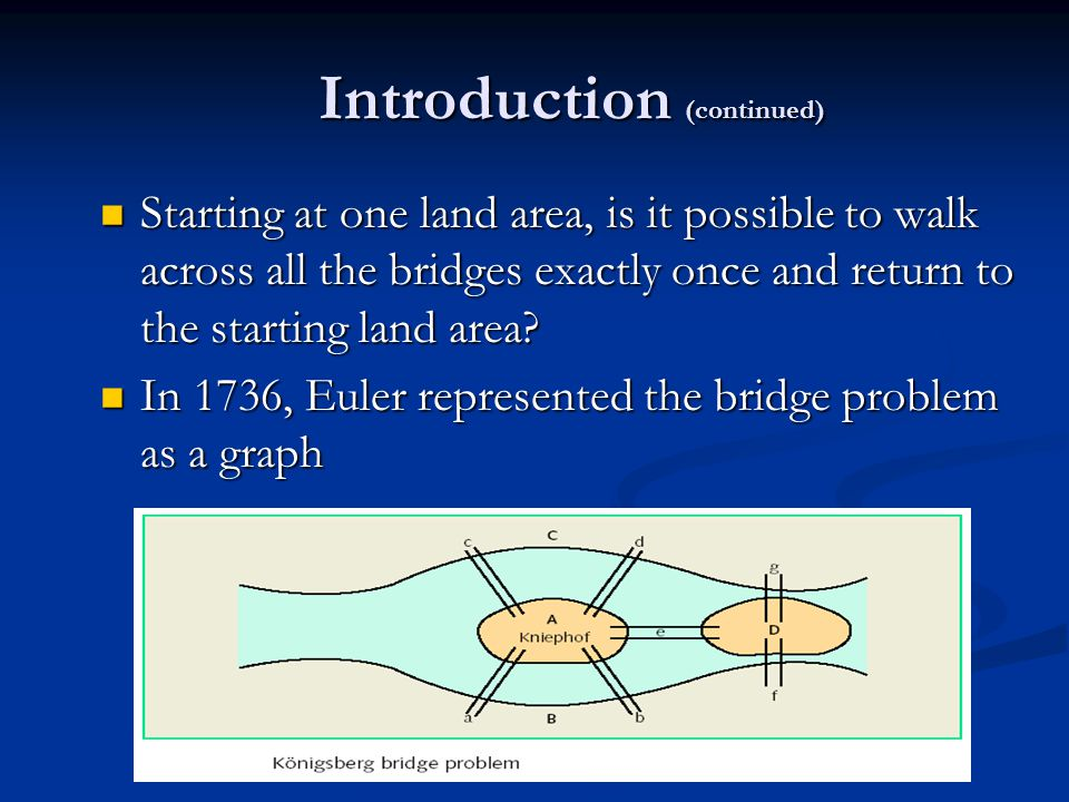 Introduction (continued) Starting at one land area, is it possible to walk across all the bridges exactly once and return to the starting land area.