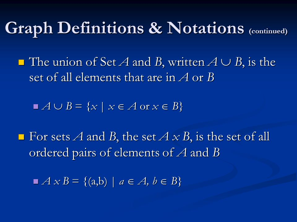 Graph Definitions & Notations (continued) The union of Set A and B, written A  B, is the set of all elements that are in A or B The union of Set A and B, written A  B, is the set of all elements that are in A or B A  B = {x | x  A or x  B} A  B = {x | x  A or x  B} For sets A and B, the set A x B, is the set of all ordered pairs of elements of A and B For sets A and B, the set A x B, is the set of all ordered pairs of elements of A and B A x B = {(a,b) | a  A, b  B} A x B = {(a,b) | a  A, b  B}