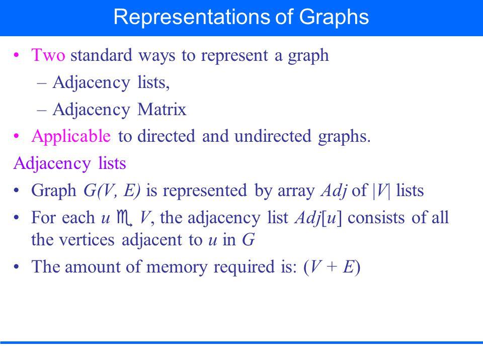 A graph G(V, E) assuming the vertices are numbered 1, 2, 3, …,  V  in some arbitrary manner, then representation of G consists of:  V  ×  V  matrix A = (a ij ) such that 1 if (i, j)  E 0 otherwise Preferred when graph is dense – E  is close to  V  2 a ij = { Adjacency Matrix