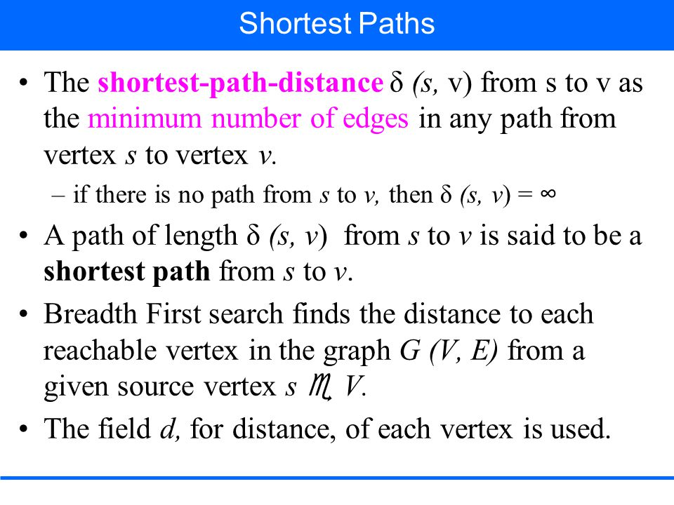 The shortest-path-distance δ (s, v) from s to v as the minimum number of edges in any path from vertex s to vertex v.