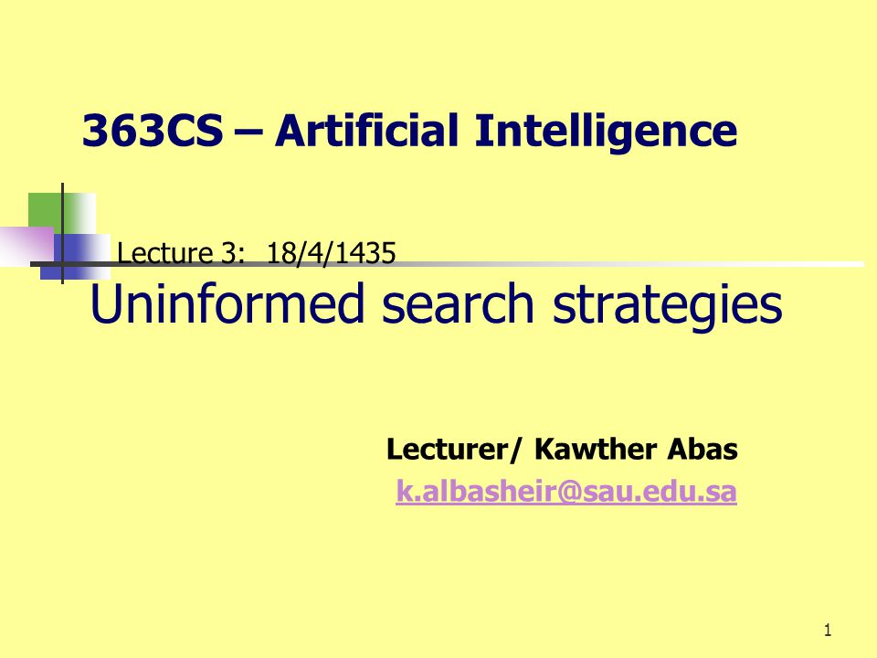 1 Lecture 3: 18/4/1435 Uninformed search strategies Lecturer/ Kawther Abas k.albasheir@sau.edu.sa 363CS – Artificial Intelligence