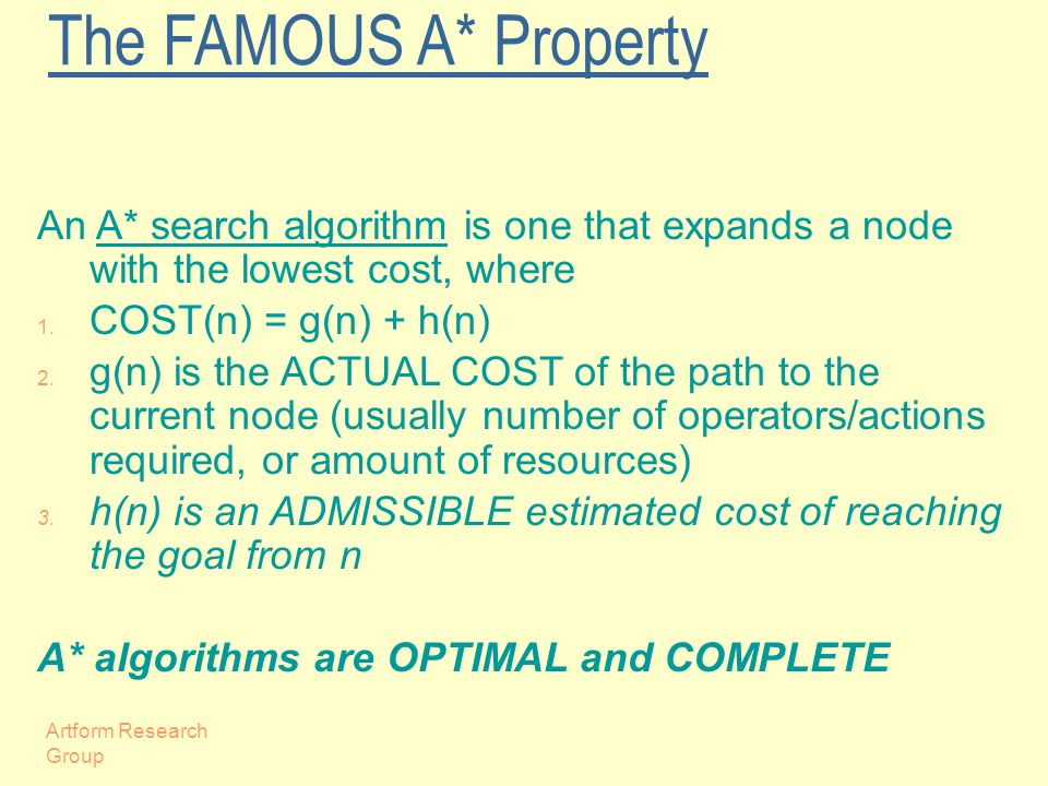 Artform Research Group The FAMOUS A* Property An A* search algorithm is one that expands a node with the lowest cost, where 1.