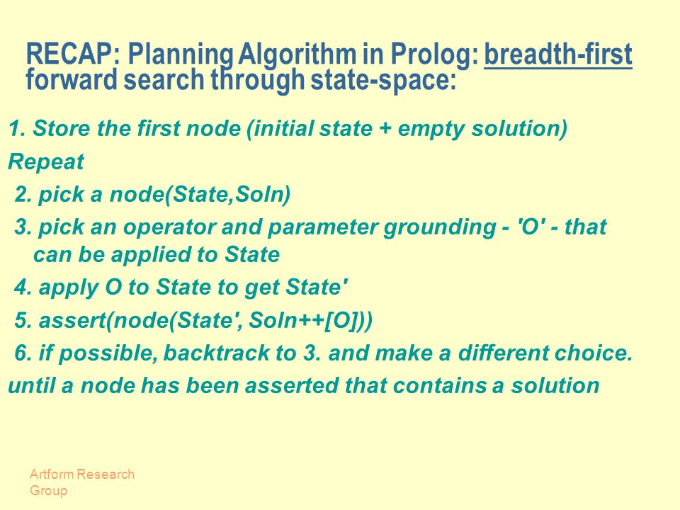 Artform Research Group RECAP: Planning Algorithm in Prolog: breadth-first forward search through state-space: 1.