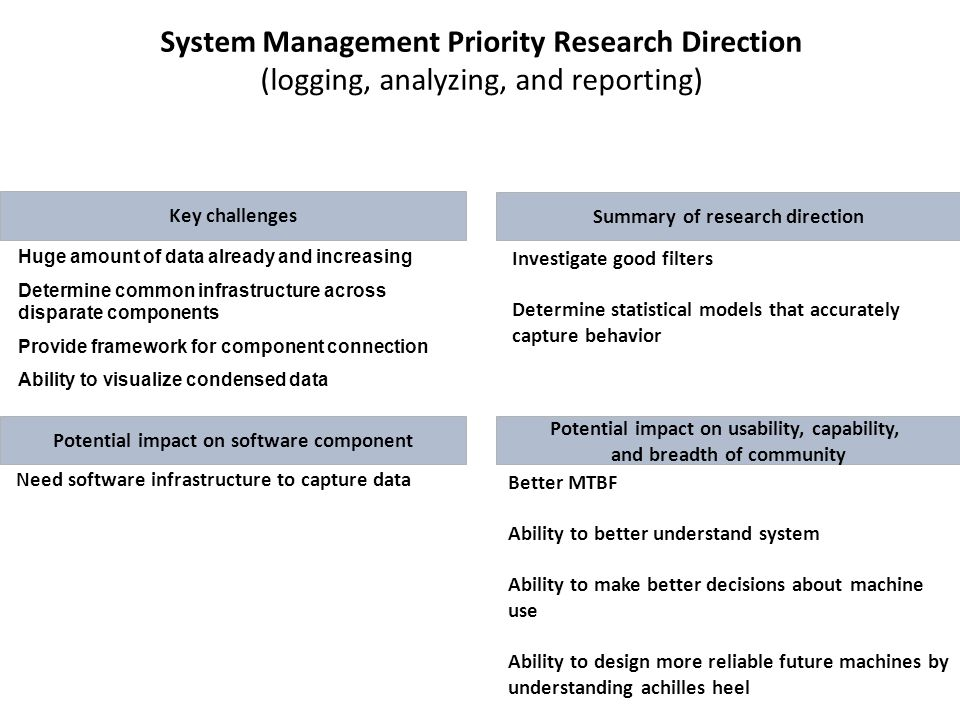 System Management Priority Research Direction (logging, analyzing, and reporting) Key challenges Investigate good filters Determine statistical models