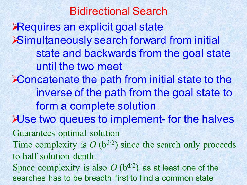 Bidirectional Search  Requires an explicit goal state  Simultaneously search forward from initial state and backwards from the goal state until the two meet  Concatenate the path from initial state to the inverse of the path from the goal state to form a complete solution  Use two queues to implement- for the halves Guarantees optimal solution Time complexity is O (b d/2 ) since the search only proceeds to half solution depth.