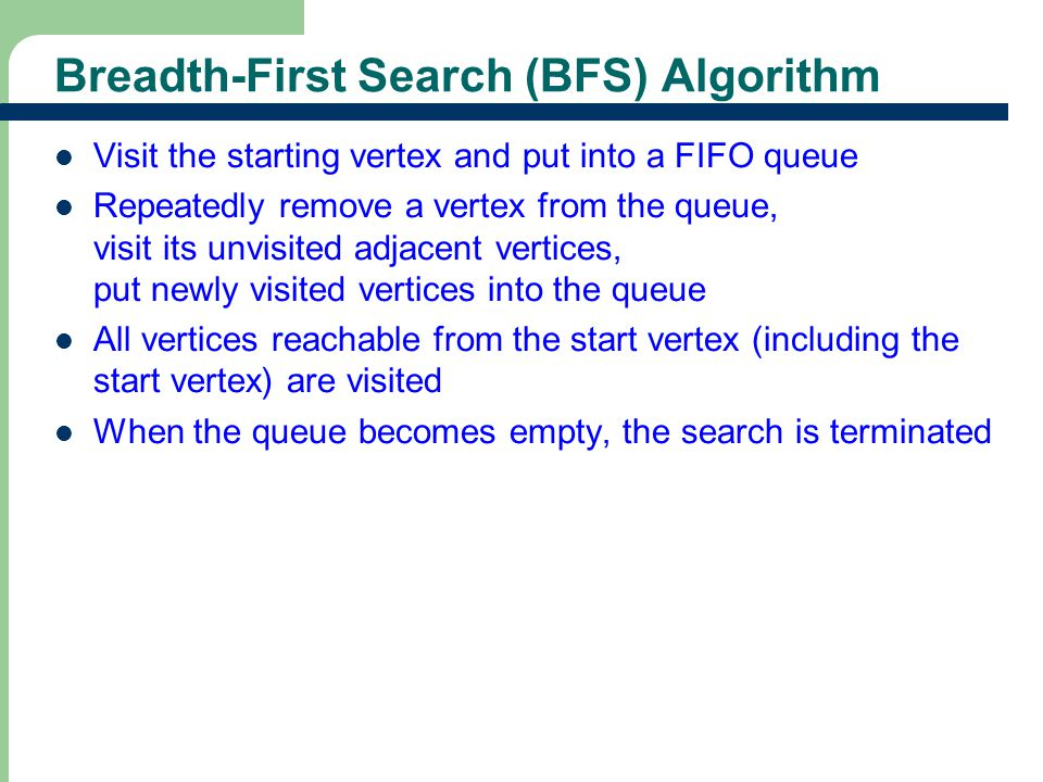 Breadth-First Search Example Queue is empty, thus the search terminates.