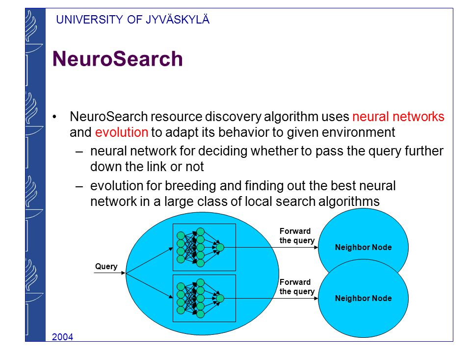 UNIVERSITY OF JYVÄSKYLÄ 2004 NeuroSearch NeuroSearch resource discovery algorithm uses neural networks and evolution to adapt its behavior to given en
