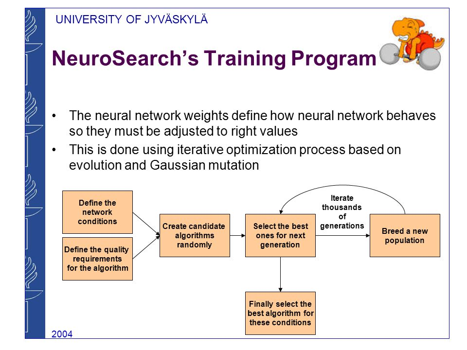 UNIVERSITY OF JYVÄSKYLÄ 2004 NeuroSearch's Training Program The neural network weights define how neural network behaves so they must be adjusted to right values This is done using iterative optimization process based on evolution and Gaussian mutation Define the network conditions Define the quality requirements for the algorithm Create candidate algorithms randomly Select the best ones for next generation Breed a new population Finally select the best algorithm for these conditions Iterate thousands of generations